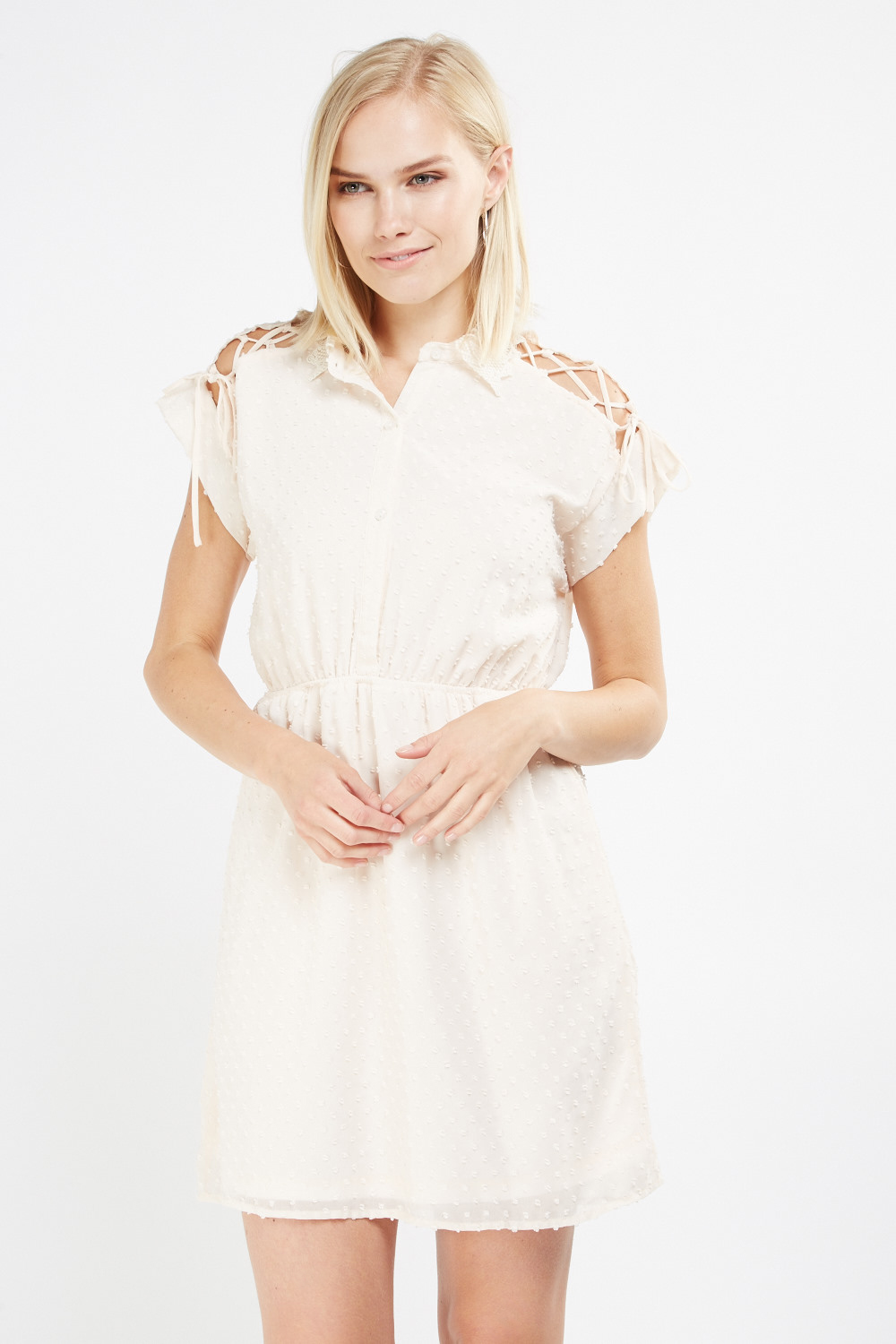 Very Lace Collar Sheer Tunic Dress - Peach - Just £5 TM04