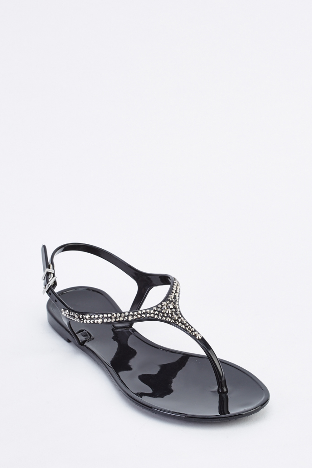 c15ea966b2e8 Encrusted T-Strap Flat Jelly Sandals - Just £5
