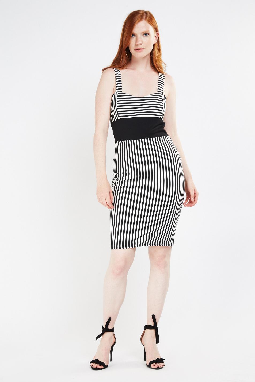 7bcd5d49e74a2d Strappy Vertical Stripe Midi Dress - Black/White - Just £5