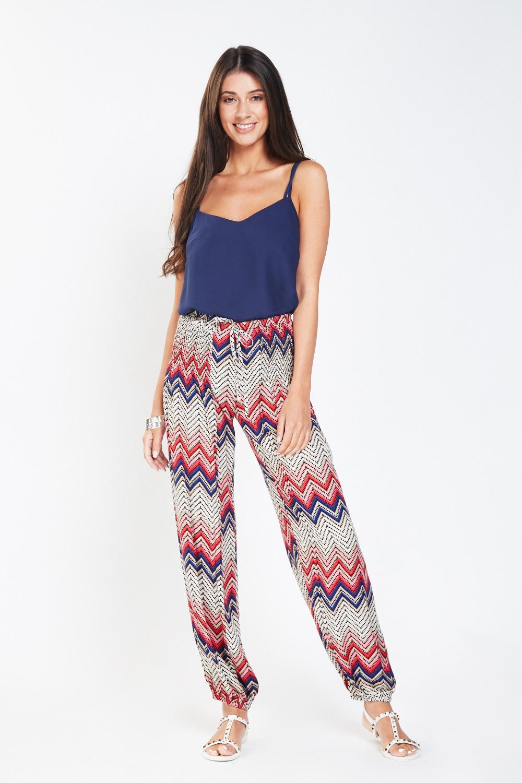 70c950ebbb Gathered Zig-Zag Print Trousers - Pink Multi or Turquoise Multi ...