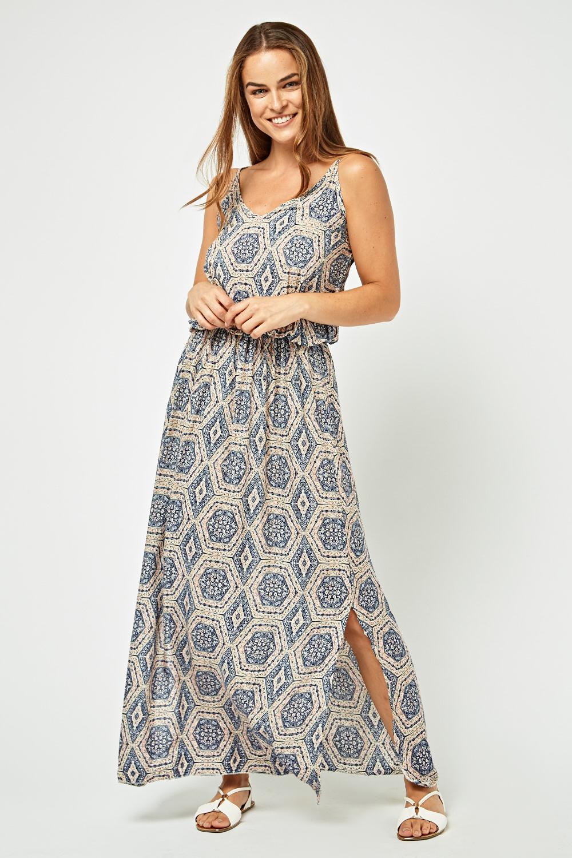 Tile Print Maxi Dress - Multi Only New Styles Online xTT3tUDAs