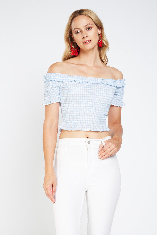 0770c57c6a9008 Off Shoulder Crop Gingham Top - Light Blue White - Just £5