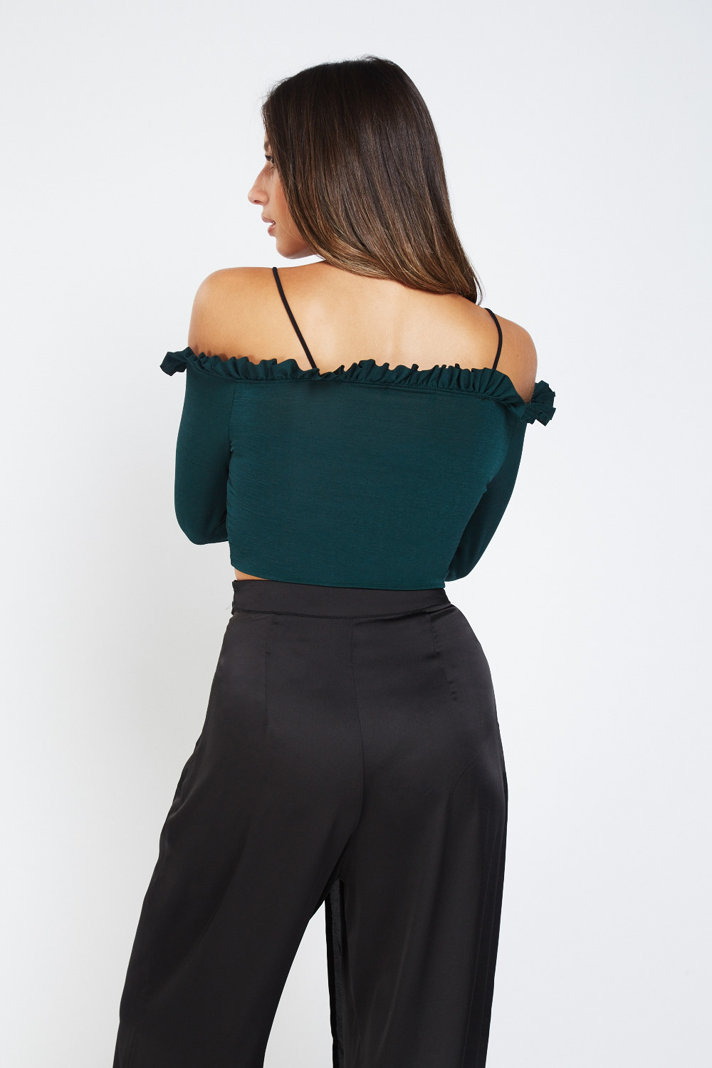 b3bc7570dfd0f Frilly Cold Shoulder Crop Wrap Top - Just £5