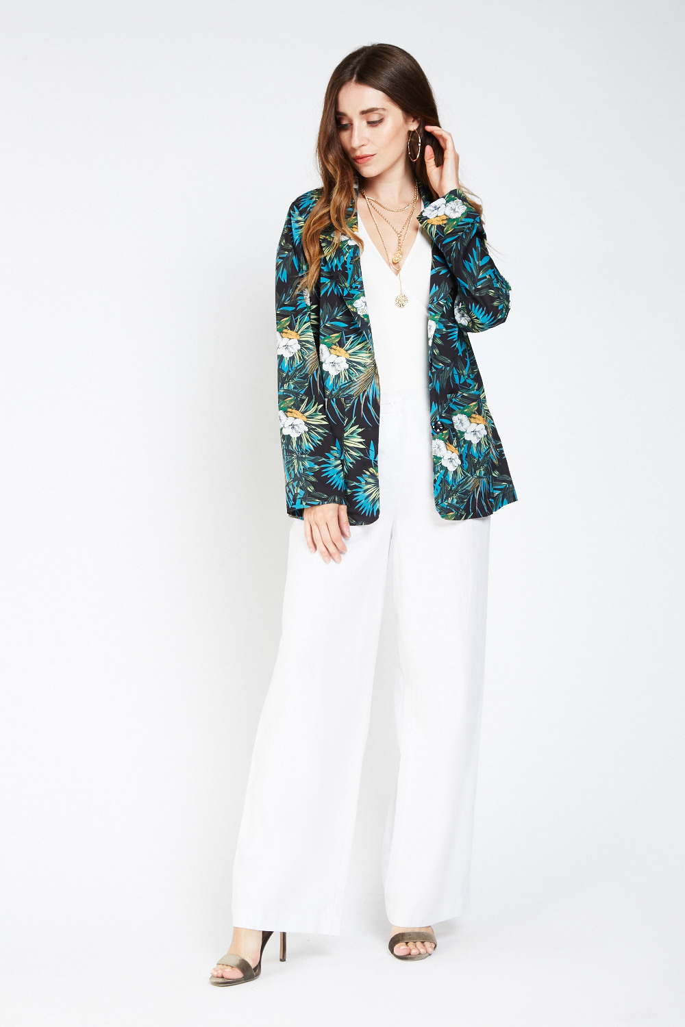 c98a519328 Tropical Printed Lapel Collar Kimono - 3 Colours - Just £5