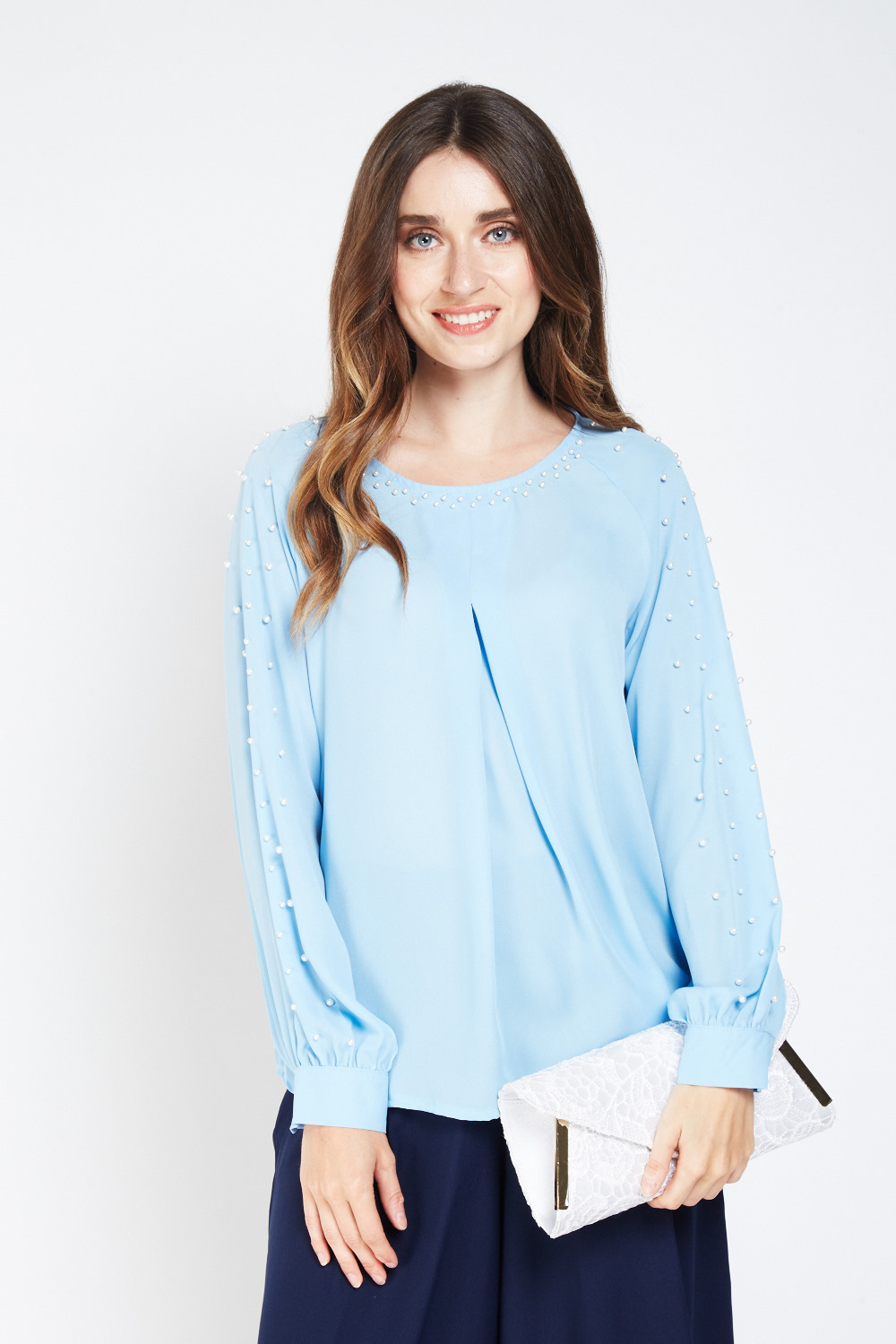 Faux Pearl Embellished Sheer Blouse Sky Blue Just 163 5