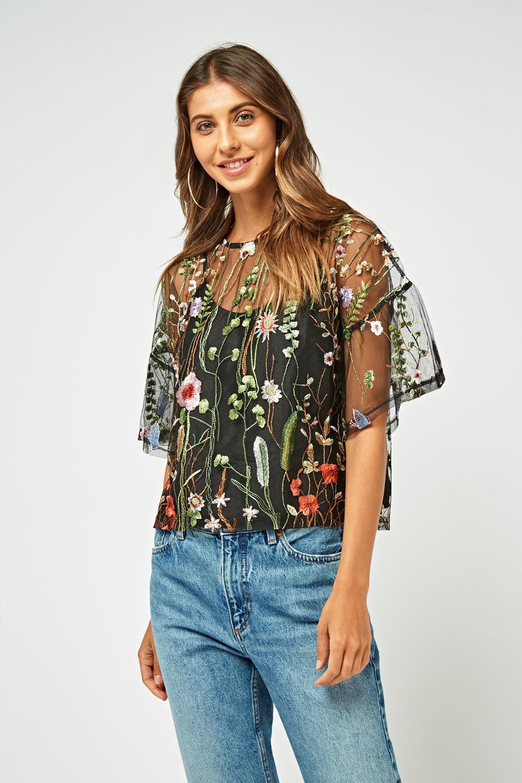 b28a3efde2e Flower Embroidered Mesh Crop Top - Just £5