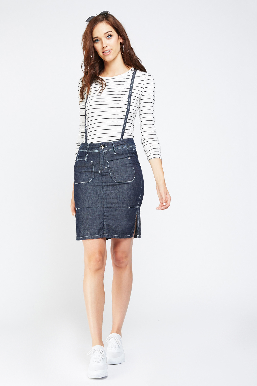 08f30e53a9 Detachable Braces Insert Denim Skirt - Just £5