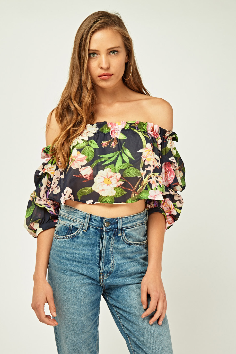 4b560585bb0 Floral Printed Off Shoulder Crop Top - Navy/Multi - Just £5
