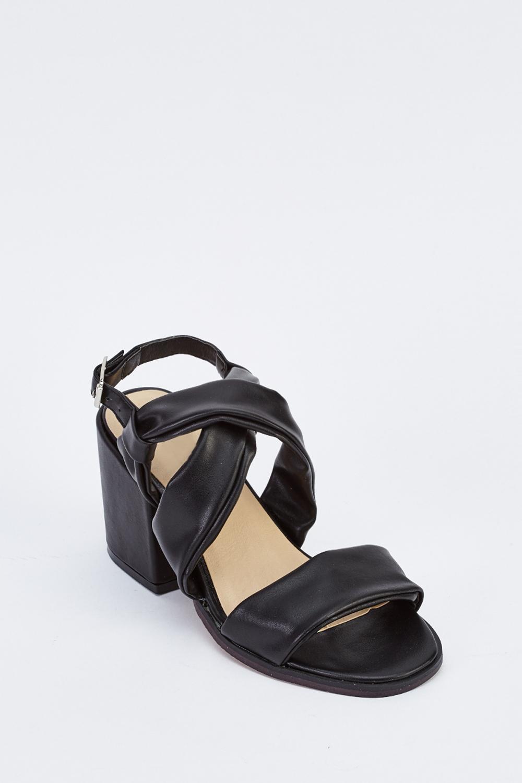 21c0074dee61 Cross Over Block Heel Sandals - Black - Just £5