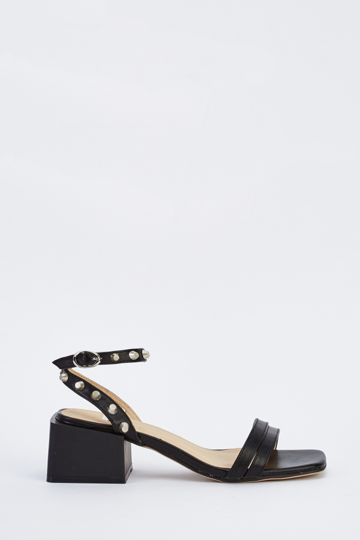32551d65bf43 Studded Block Heel Sandals - Black - Just £5
