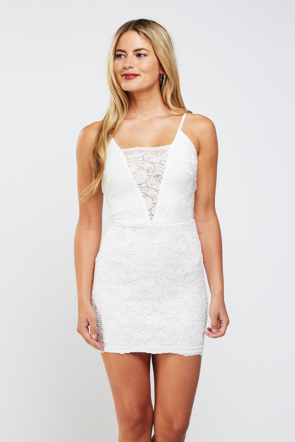 53368c6a350 Laser Cut Lace Overlay Mini Bodycon Dress - White - Just £5