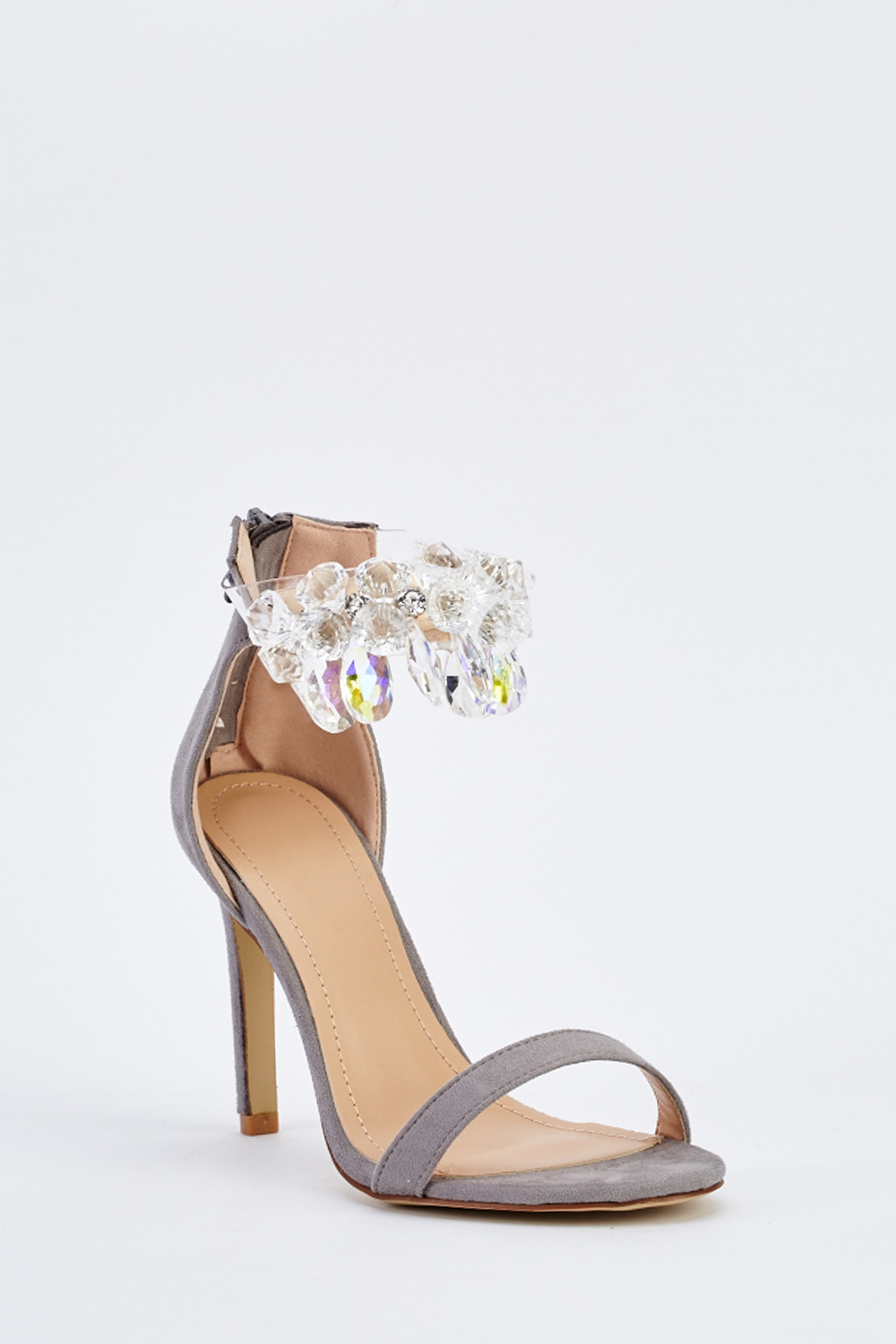 4b0cb58a8a74 Embellished Ankle Strap Heeled Sandals - Just £5