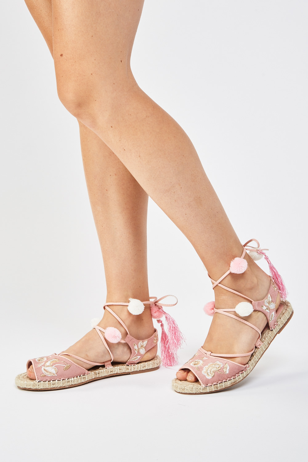 d325b870dcdb Embroidered Lace Up Espadrilles - Black or Old Pink - Just £5