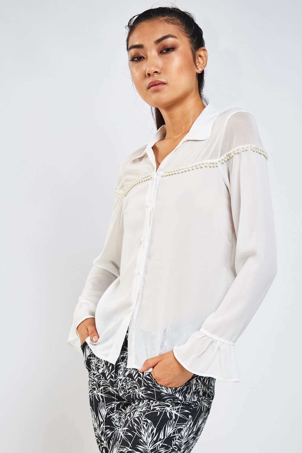 137f3fd8 Embellished Mesh Insert Sheer Blouse - Off White - Just £5