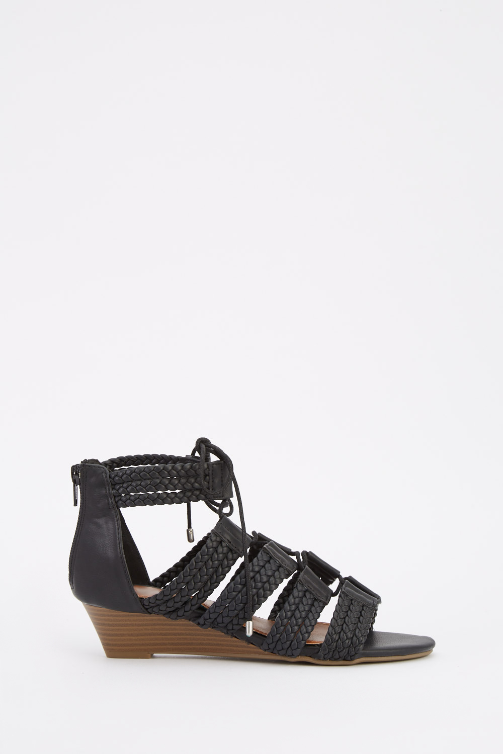 4073b0e0d681 Braided Lace Up Wedge Sandals - Black - Just £5