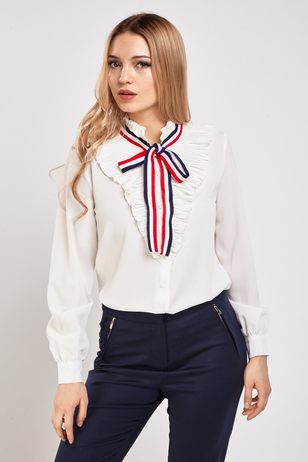 58ecebb11a8 Pleated Ribbon Tie Up Blouse - Just £5