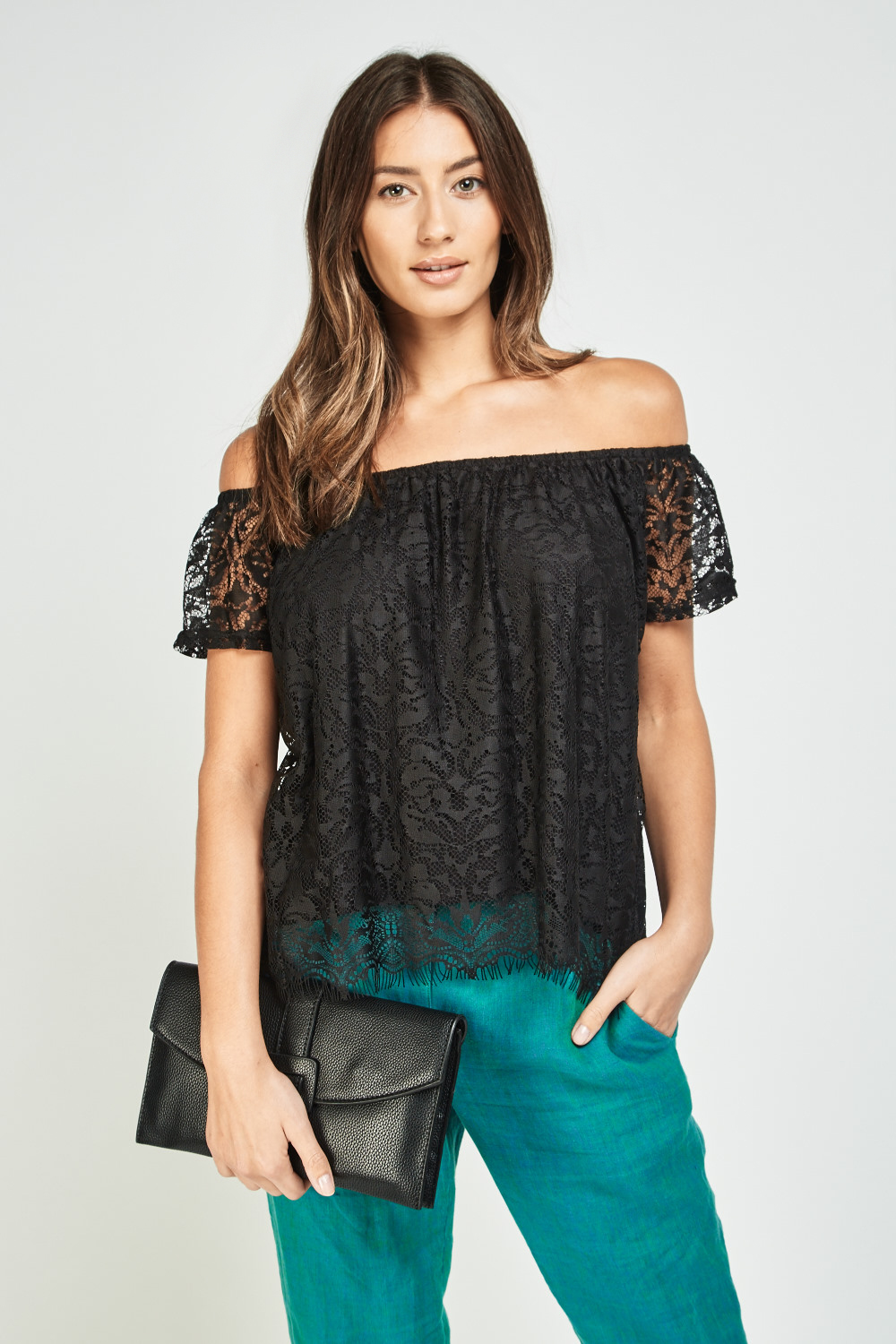 ae3c766150fe0 Off Shoulder Lace Overlay Bardot Top - Black - Just £5