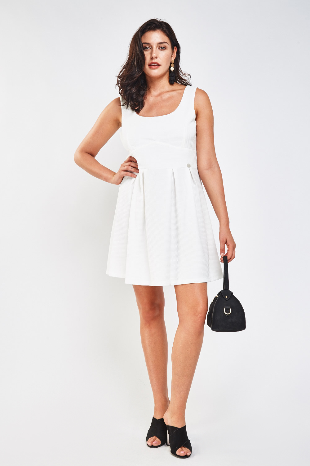 6727cf0db5 Textured Box Pleated Frilly Dress - Off White - Just £5
