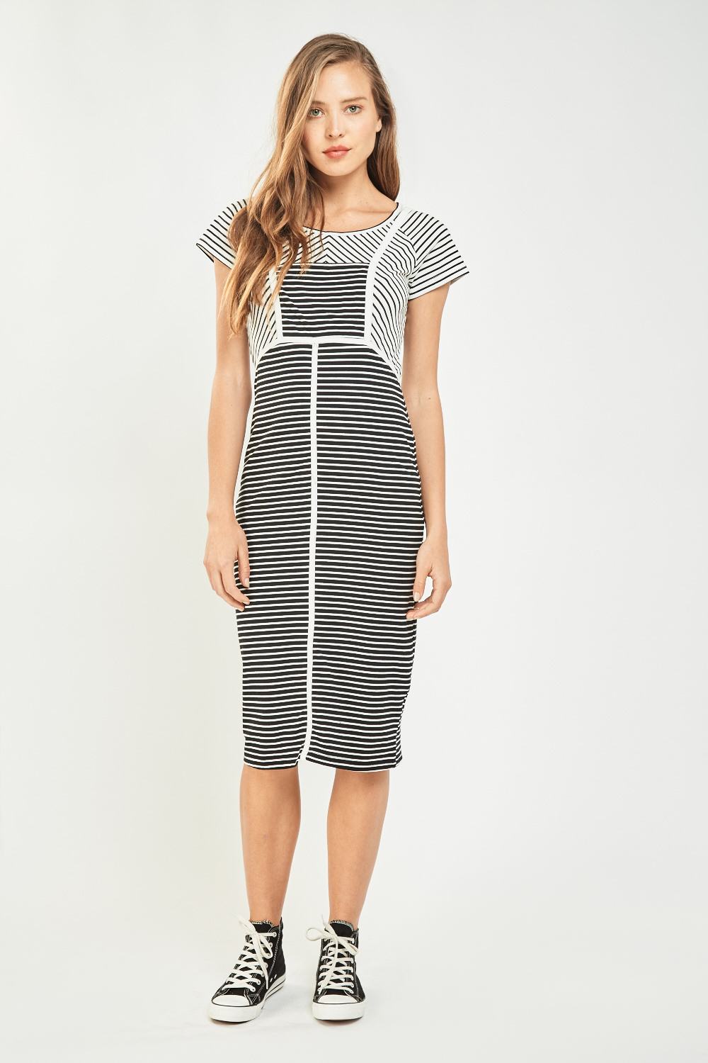 516cbbf5038 Casual Two Tone Striped Dress - Black or White - Just £5