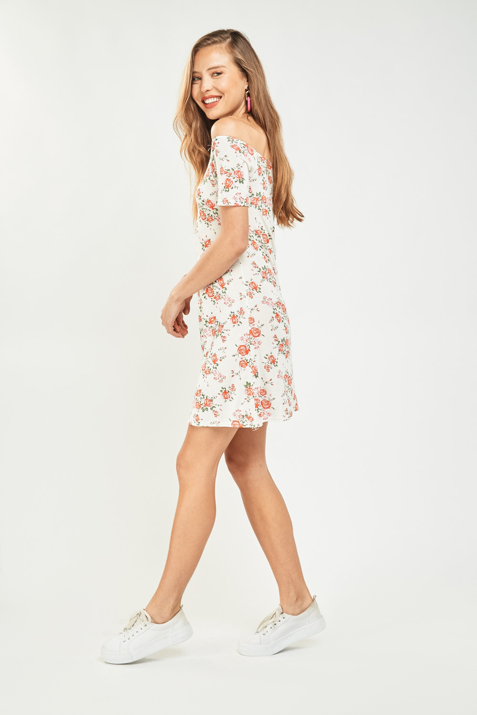 5807aa52f40 Rose Print Basic Off Shoulder Dress - Off White Multi - Just £5