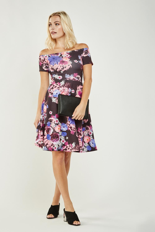 7b8649fe8540 Off Shoulder Floral Skater Dress - Just £5