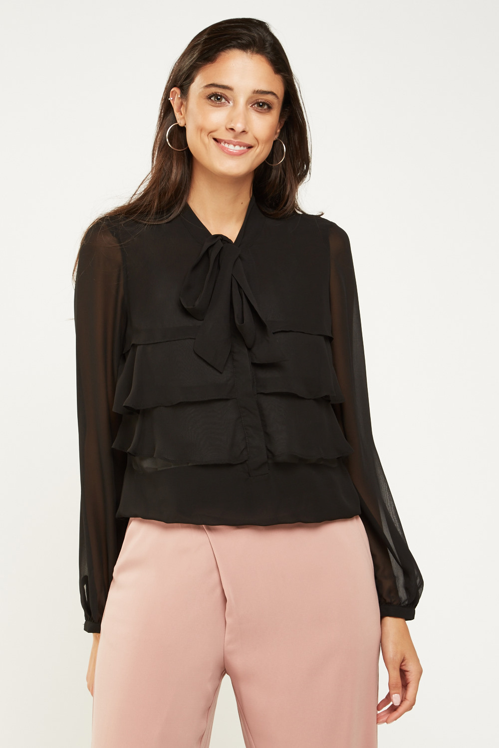 d1205fb8 Tie Up Sheer Tiered Blouse - Just £5