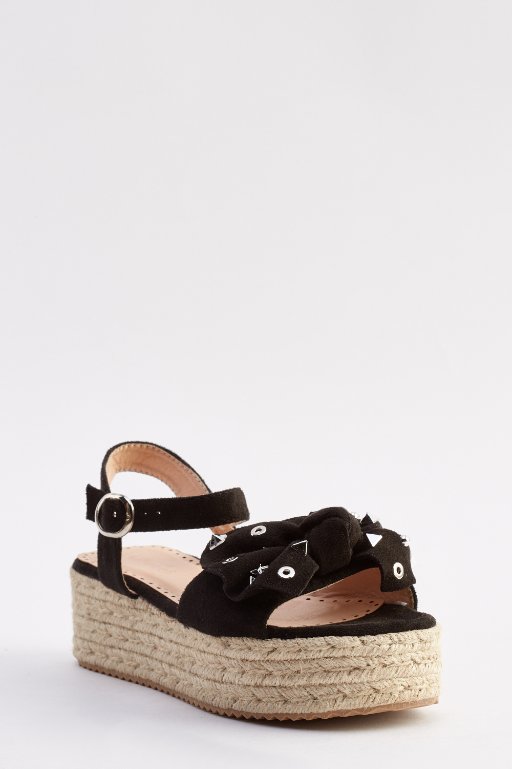 fd43b6182541 Studded Bow Platform Espadrille Sandals - Just £5