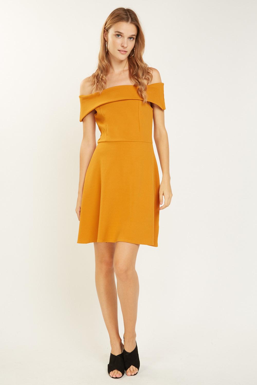 ef2def08dfae5 Off Shoulder Bardot Swing Dress - Mustard or Black - Just £5