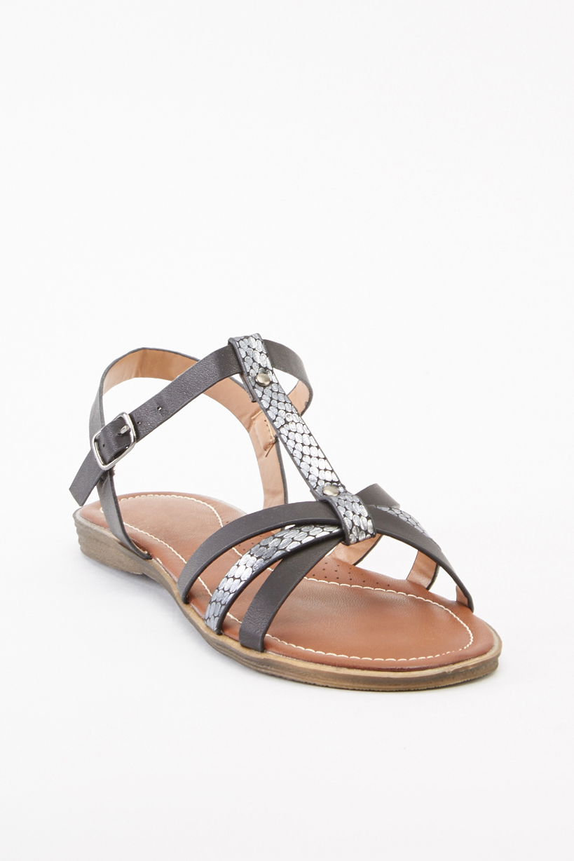 75818e7f519 Contrasted T-Strap Flat Sandals - Black Silver or Beige Gold - Just £5