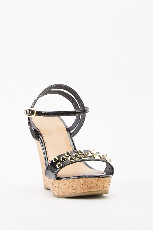eacebefbc42 Studded PVC Wedge Sandals - Black - Just £5