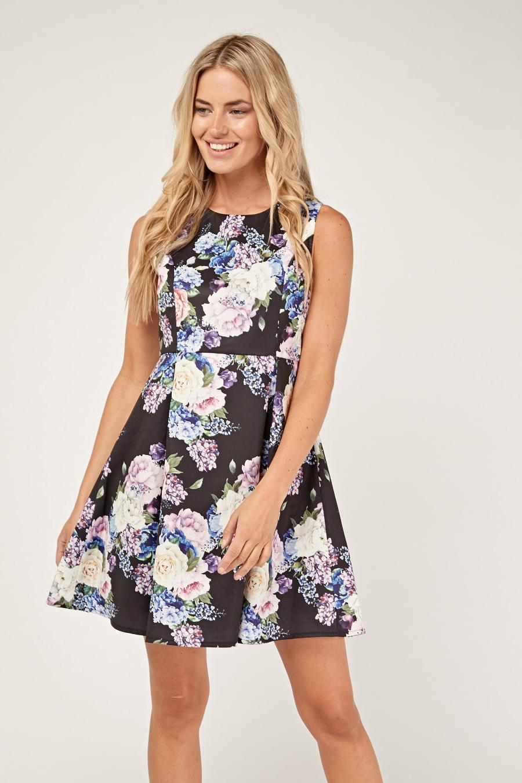 c67cee414f Floral Box Pleat Skater Dress - Just £5
