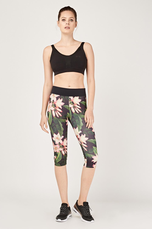 90fb6a3ff5394 Tropical Floral Sports Capri Leggings - Black/Multi - Just £5
