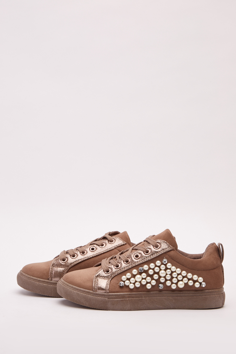 5bc2eadbe00a Faux Pearl Detail Suedette Shoes - Khaki - Just £5