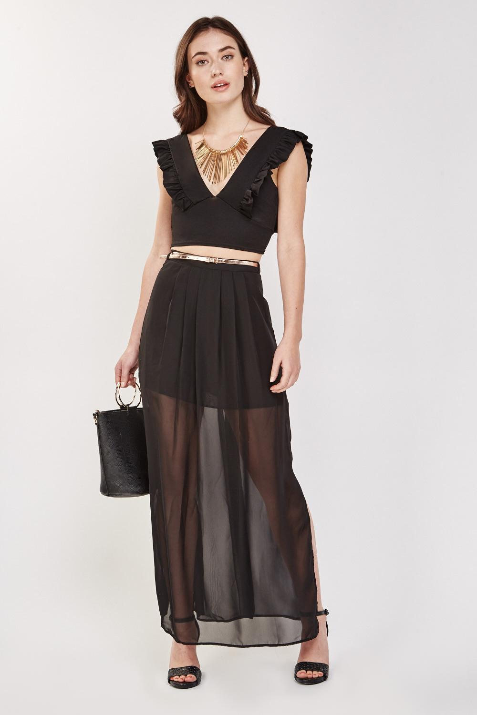 39130191b Sheer Chiffon Overlay Maxi Skirt - Black - Just £5
