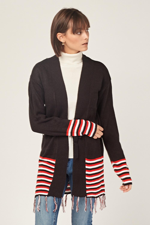 Striped Fringe Trim Knit Cardigan Black Just 163 5