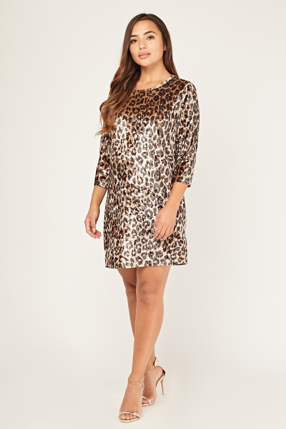 c76ee6d2a1 Leopard Print Velveteen Shift Dress - Just £5