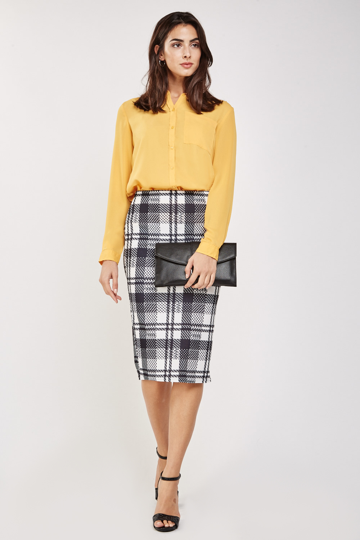 dd041f7fdfb1 High Waist Midi Check Skirt - Just £5