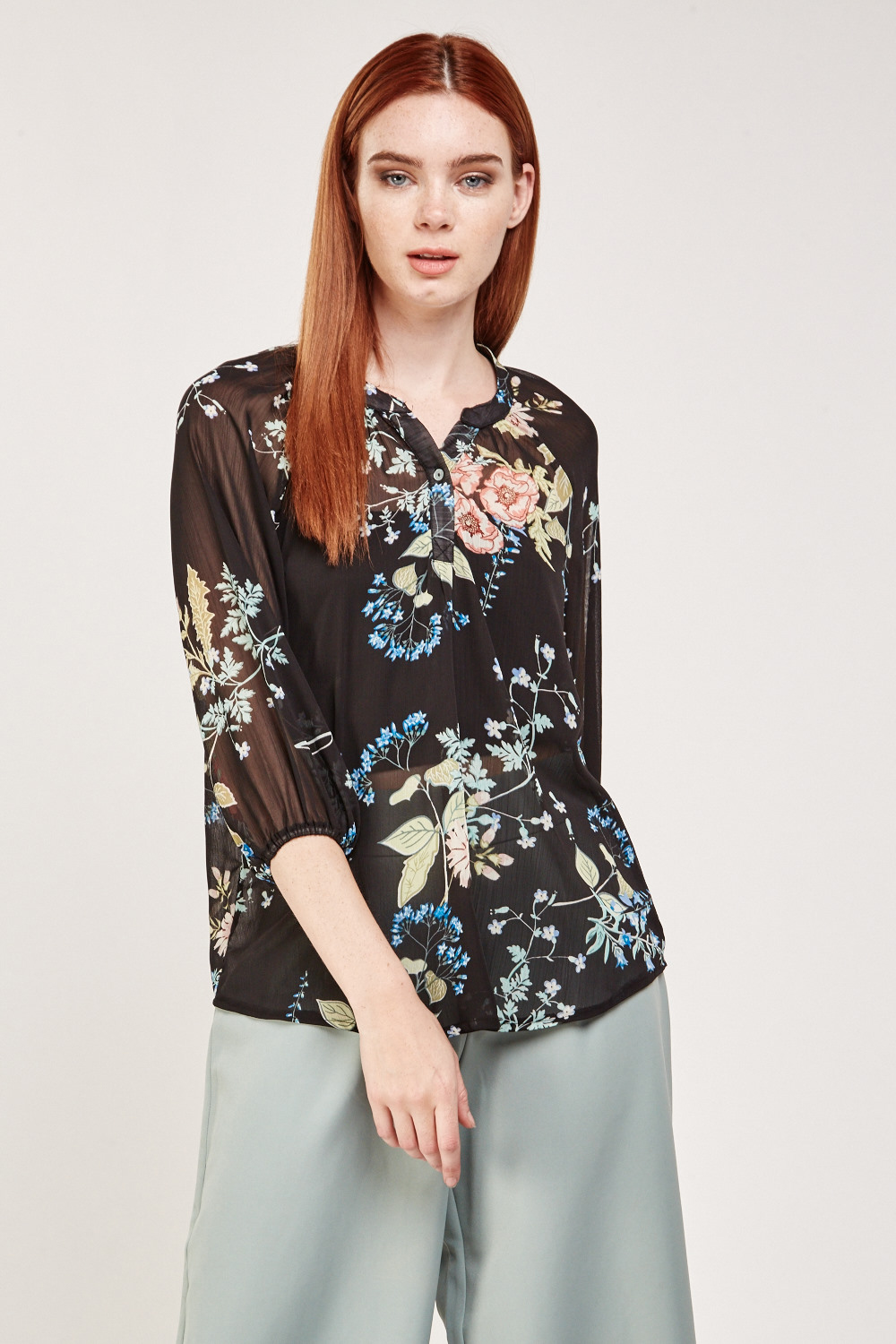 22ad88e8 Floral Printed Sheer Blouse - Black/Multi - Just £5