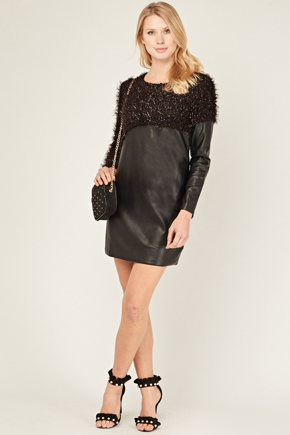 c51651de865 Leather Look Dress With Tinsel - Black - Just £5