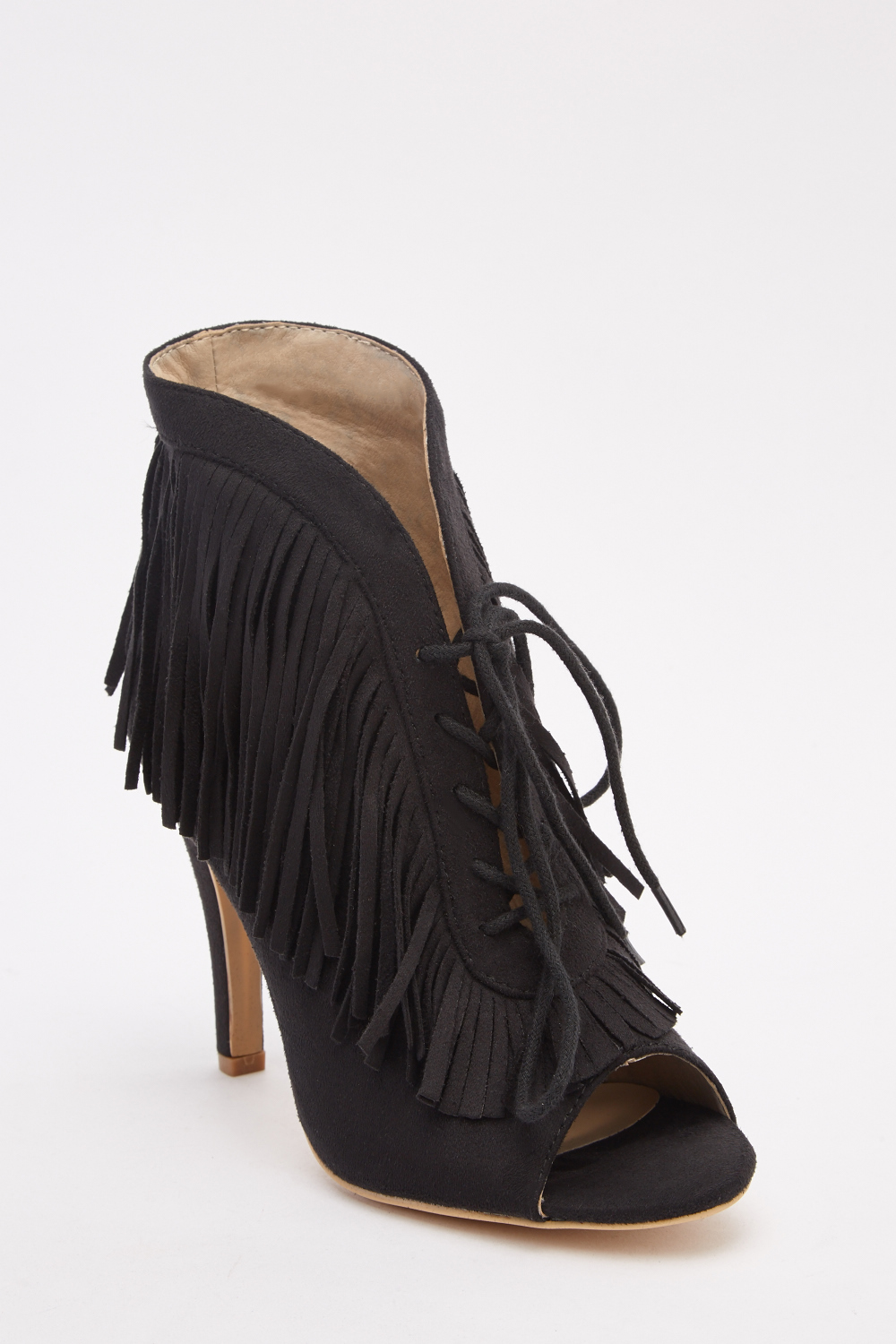 d8adbb31eae7 Fringe Lace Up Peep Toe Booties - Just £5