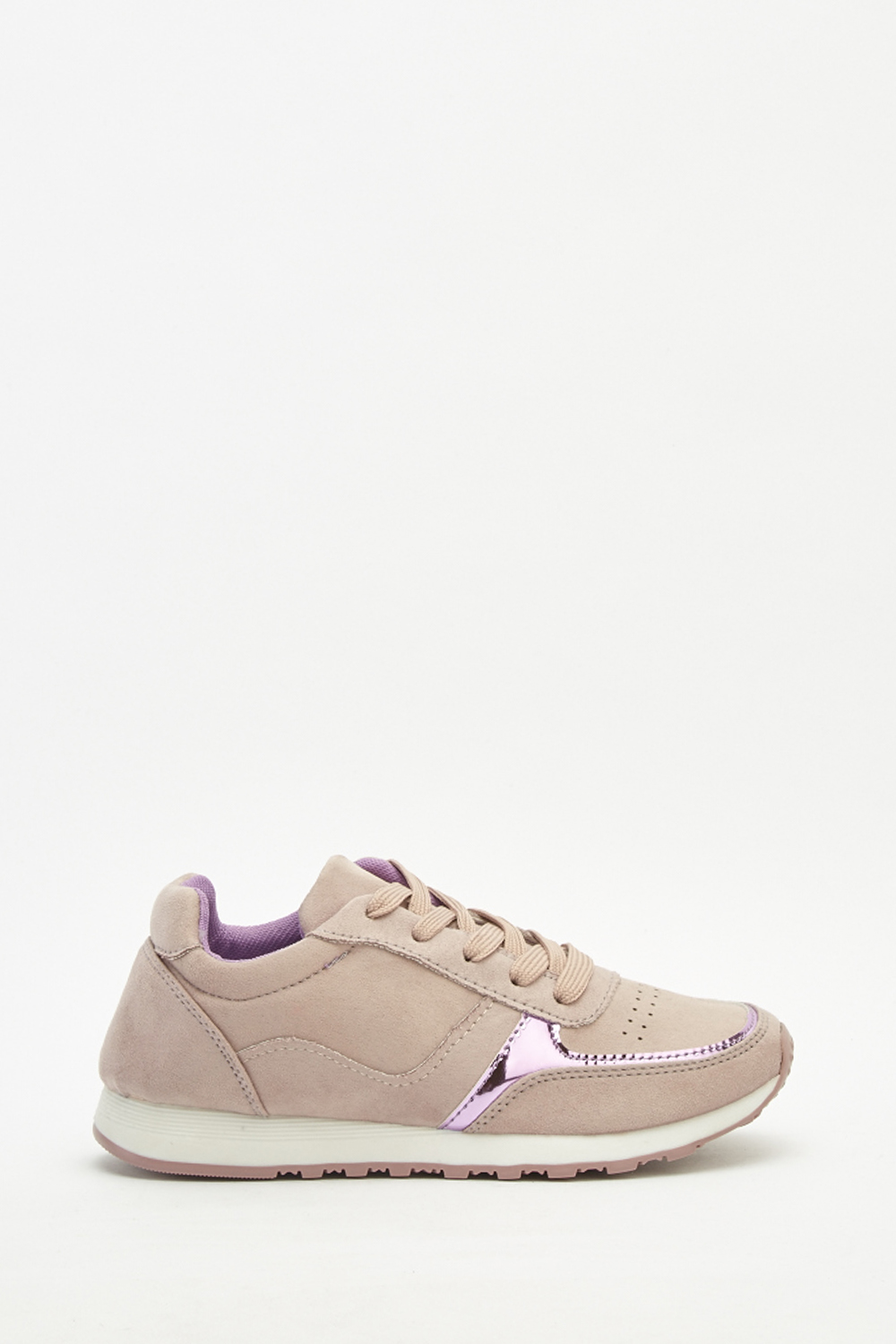 328f3bdef0e84 Metallic Suedette Contrast Trainers - Just £5