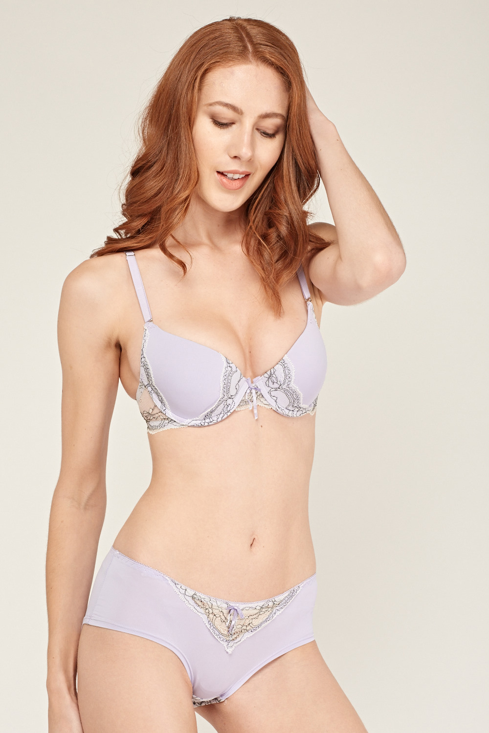 ad0991ef3c9 Lace Insert Bra And Brief Set - Lilac/Off White or Aqua/Off White ...