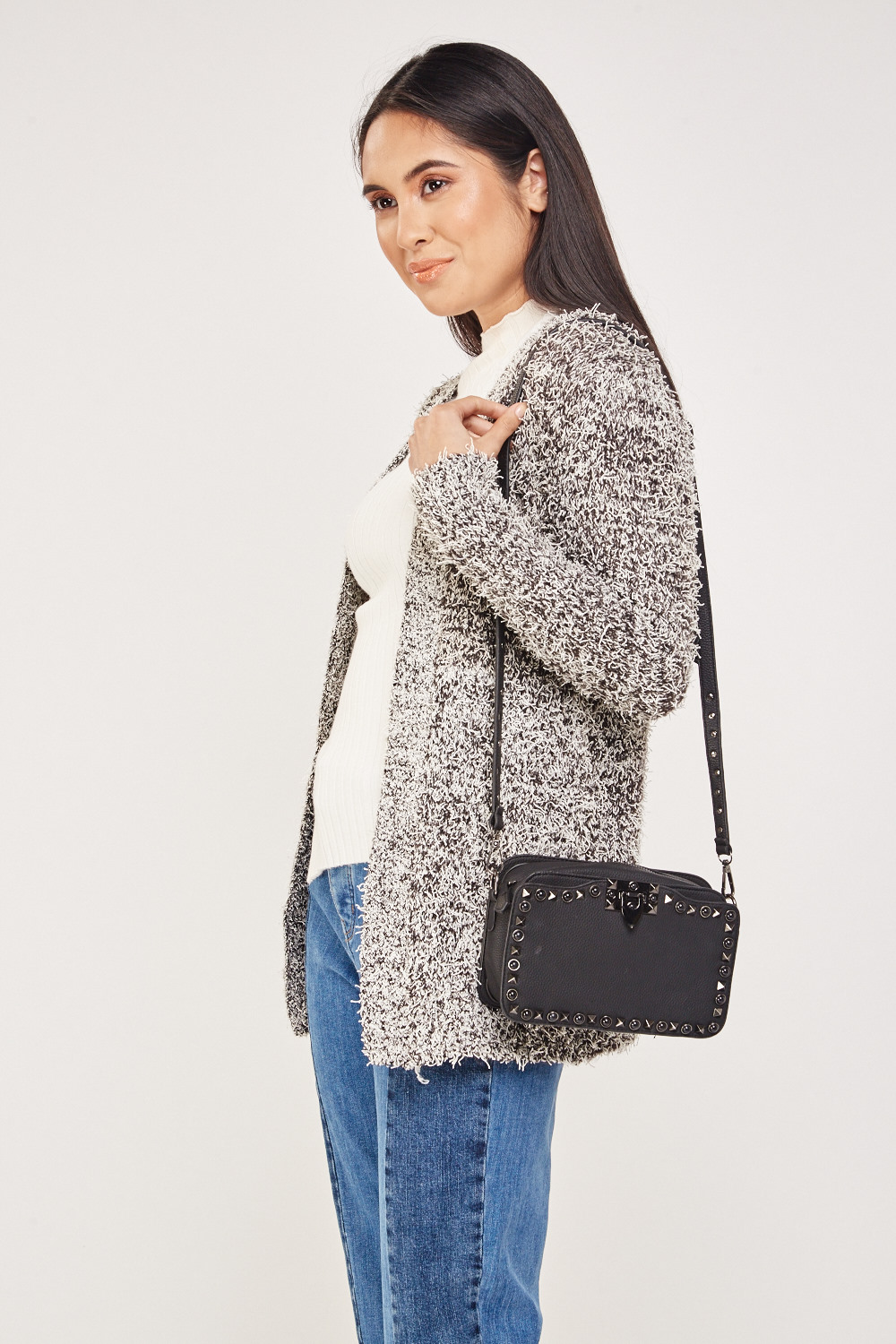 757d1346fad9 Speckled Eyelash Knit Cardigan - Black Off White - Just £5