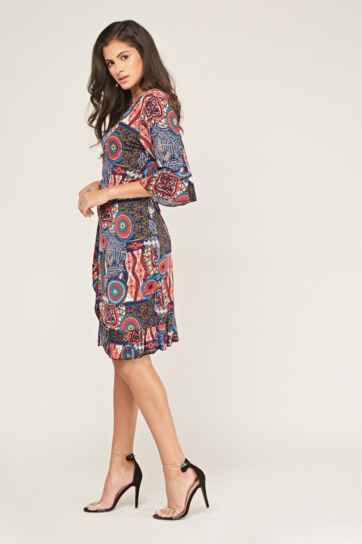 Tribal Print Wrap Dress - Just $7