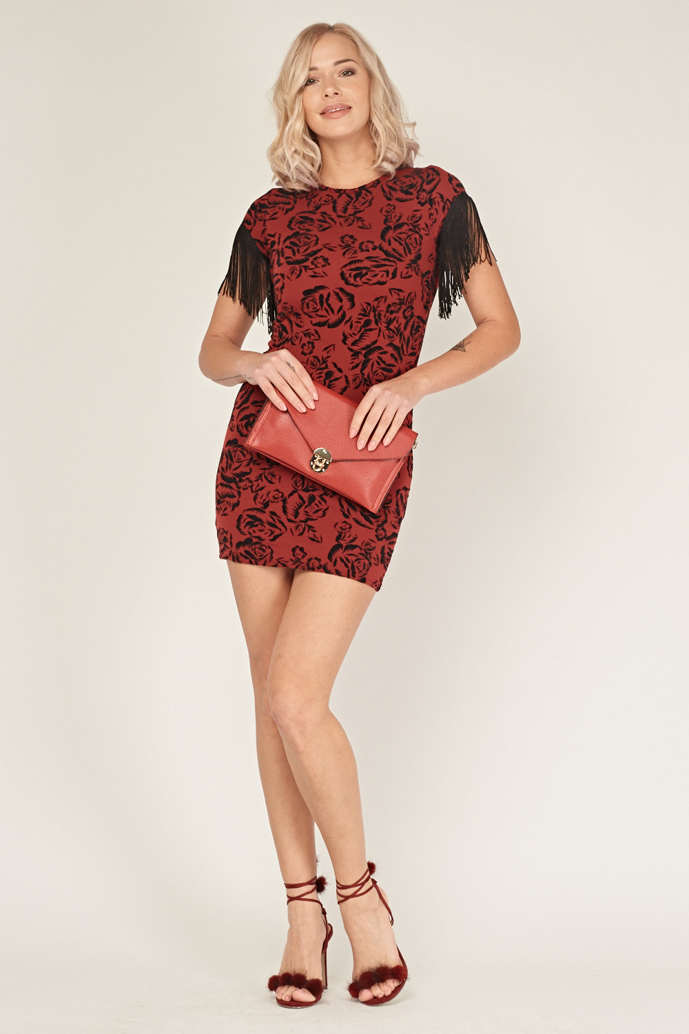 Black bodycon dress with red roses
