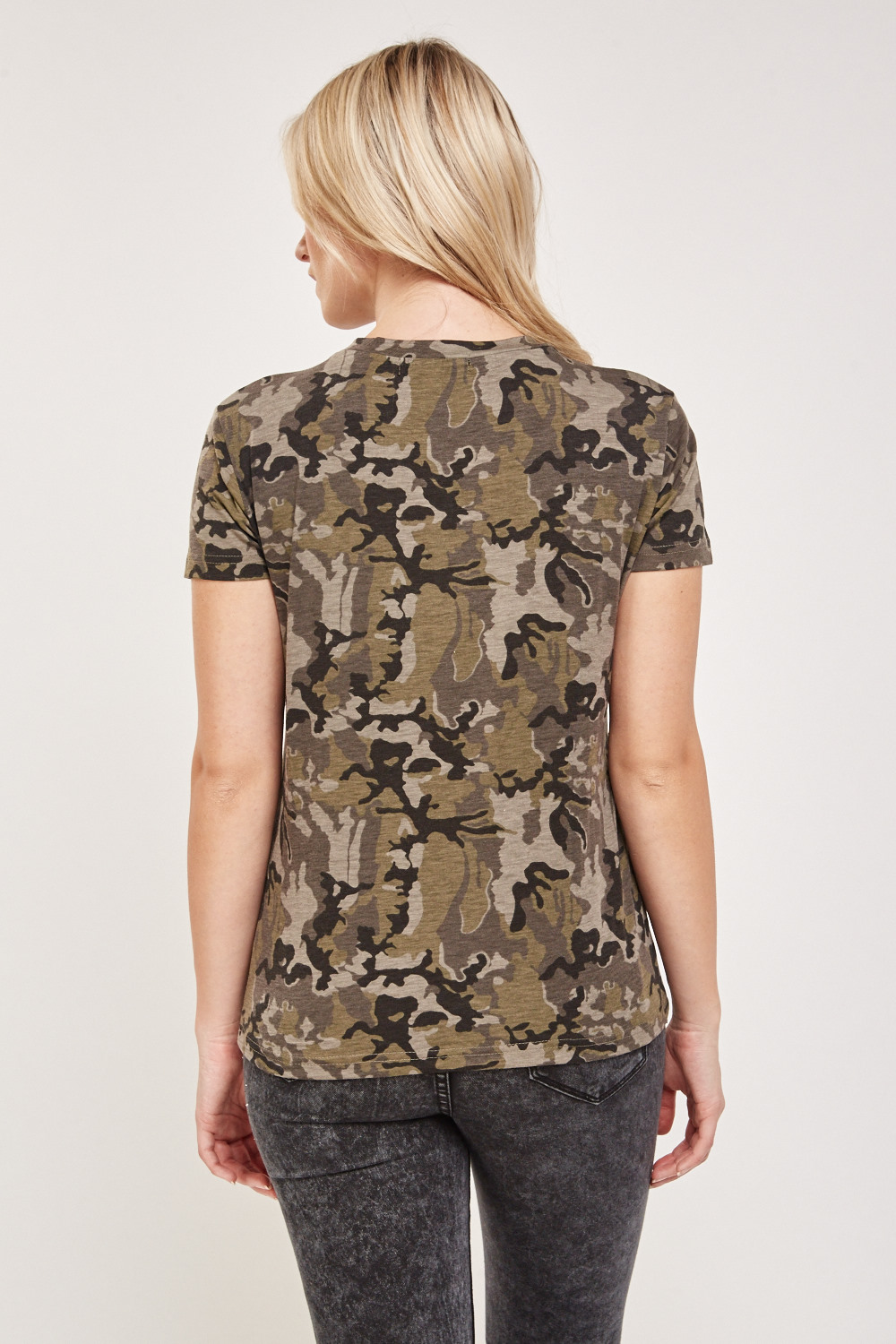 bb45f7319b Camouflage Lace Up Front Top - Olive Multi - Just £5