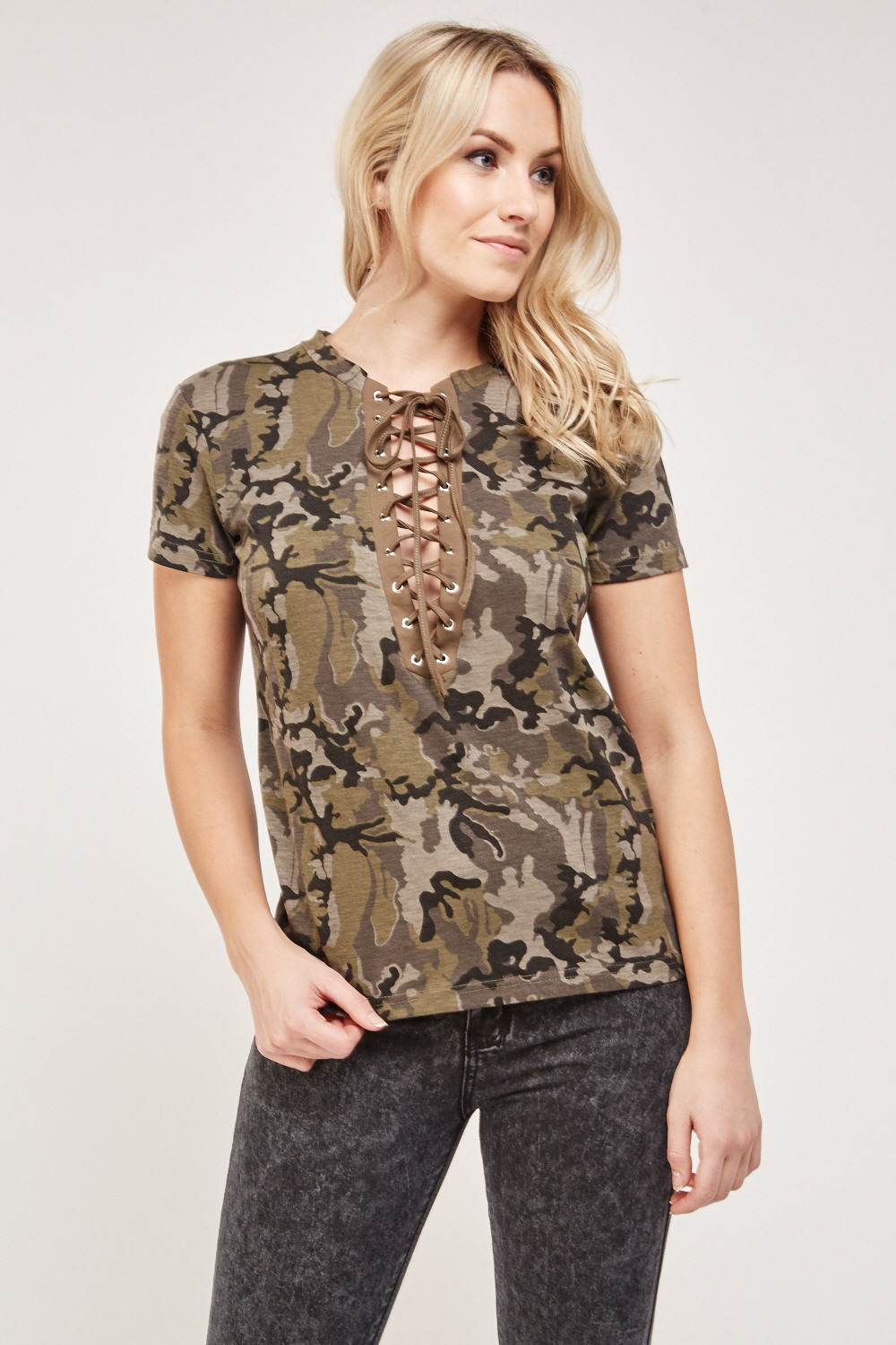 05ae5d81d4 Camouflage Lace Up Front Top. £5.00. ColourOlive Multi