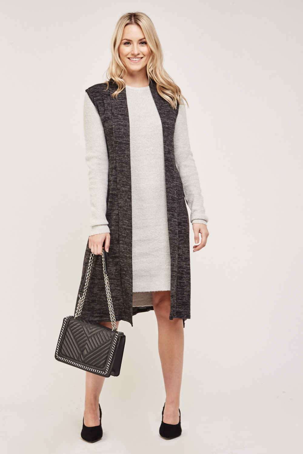 e6153536878a Sleeveless Thin Speckled Cardigan - Black/Grey - Just £5
