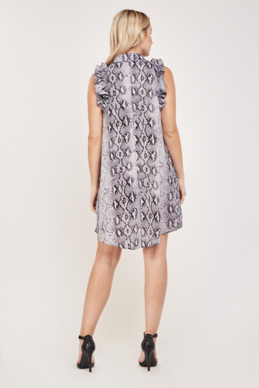 Snake Print Ruffle Shirt Dress Blue Multi Or Brown Multi