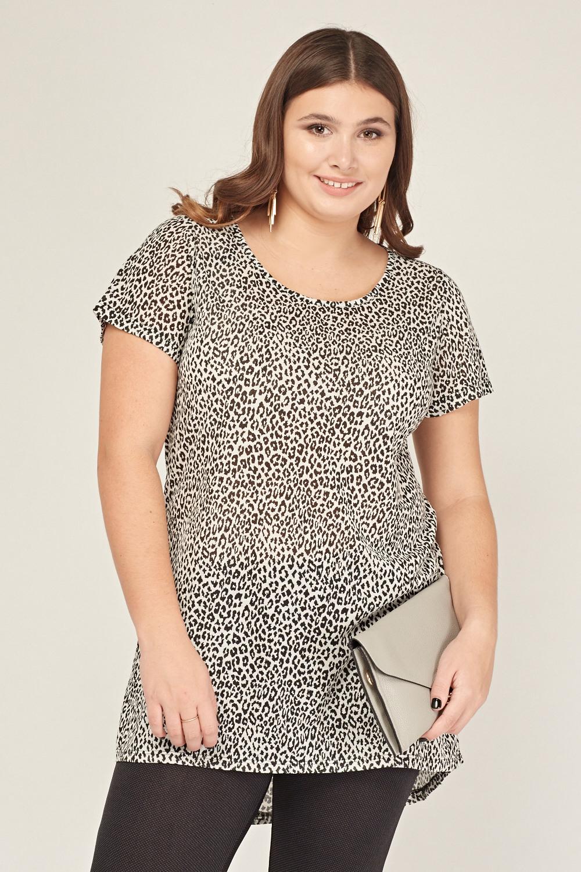 e6fe9a95fb16 Leopard Print Dip Hem Top - Off White/Black - Just £5